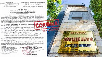 Đại học Luật Hà Nội tiếp tục cho sinh viên nghỉ học đến 9/3 để phòng dịch COVID-19