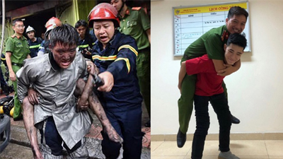 Khoảnh khắc chàng trai gặp lại chiến sĩ PCCC cứu mình khỏi đám cháy ở Núi Trúc