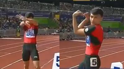Chào sân kiểu 'múa quạt', Trần Nhật Hoàng 'quẩy' luôn HCV điền kinh chạy 400m nam