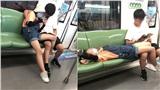 Cặp tình nhân lần lượt thay đổitư thế nhạy cảm trên tàu điện ngầm khiến cộng đồngmạng 'nóng mắt'