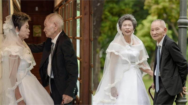 Cặp vợ chồng già lần đầu chụp ảnh cưới sau 70 năm kết hôn