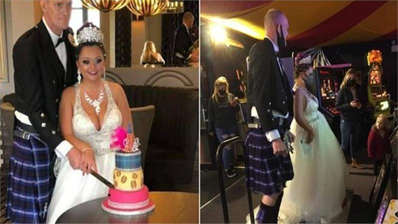 Sau 2 lần hủy đám cưới do Covid - 19, cặp đôi tổ chức hôn lễ và giải trí tại khu vui chơi