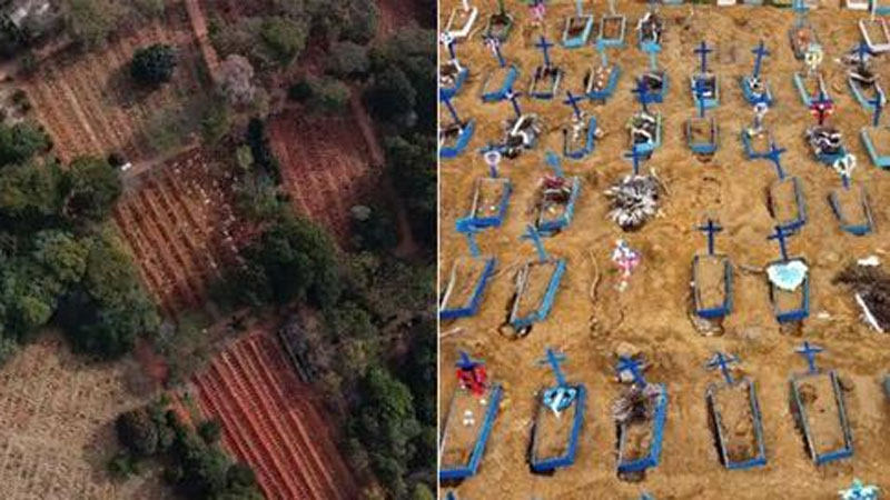 Công nhân làm việc 12 tiếng/ngày để đào mồ chôn tập thể nạn nhân COVID-19