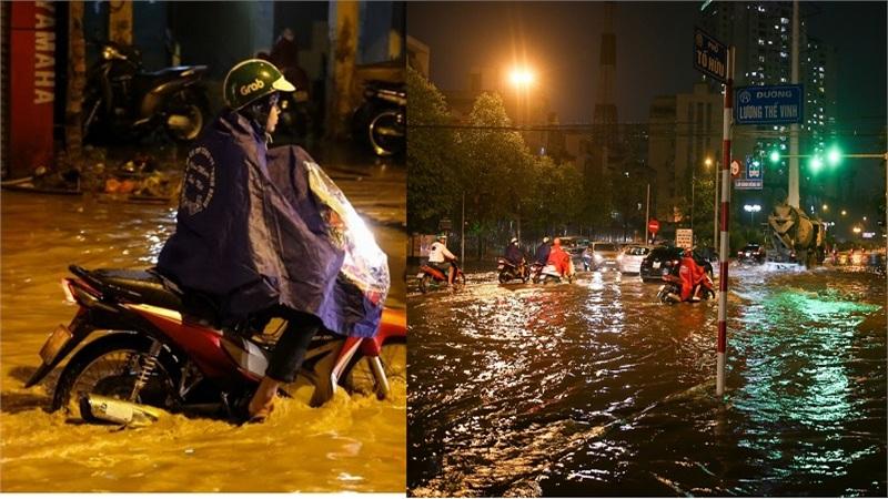 Mưa kéo dài, nhiều con phố ở Hà Nội xảy ra tình trạng ngập lụt