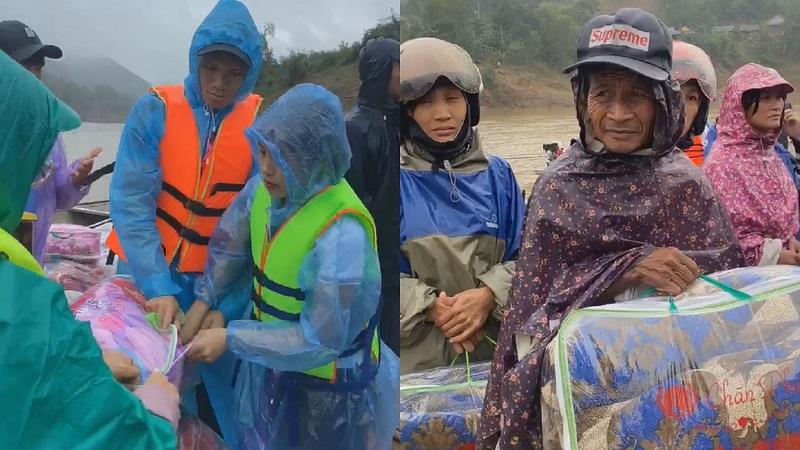 Kêu gọi được 200 triệu đồng, cầu thủ Phạm Xuân Mạnh trực tiếp vào vùng lũ trao quà cho bà con