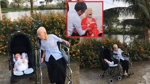 Khoảnh khắc bình yên của Mẹ Việt Nam anh hùng 110 tuổi bên người chắt còn nằm nôi