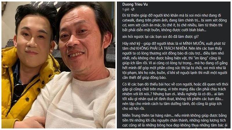 Dương Triệu Vũ bức xúc những kẻ soi mói nghệ sĩ đi từ thiện, Hoài Linh quyên góp 1,5 tỷ đồng
