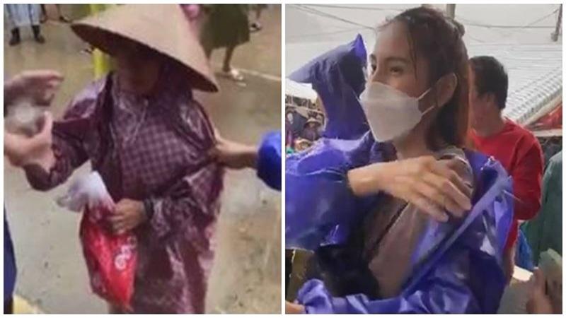 Chứng kiến một bà cụ đi nhận tiền cứu trợ bị lôi mạnh tay, Thủy Tiên liền phản ứng