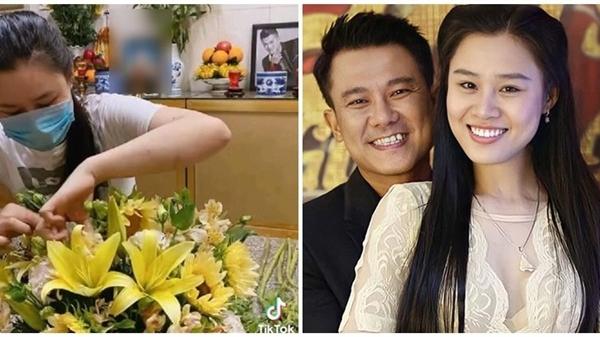 Sau drama đấu tố, vợ cố NS Vân Quang Long lặng lẽ đến cắm hoa ở nơi thờ phụng chồng