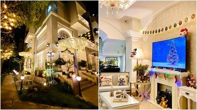 Vợ chồng Thúy Hạnh - Minh Khang khoe biệt thự được trang hoàng lộng lẫy đón Giáng Sinh
