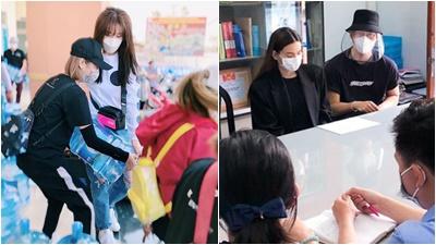 Hà Hồ tặng 2 phòng cách ly cho bệnh nhân Covid-19, Hari Won trao 1.610 bình nước cho người dân Tiền Giang