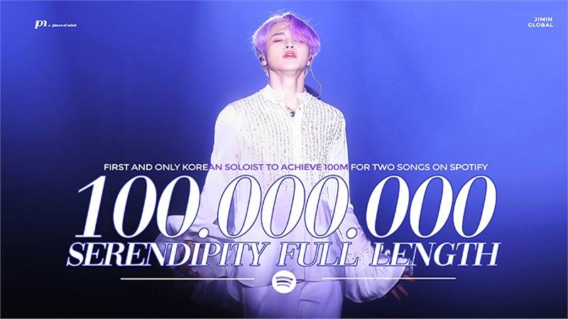 Jimin trở thành nghệ sĩ solo Hàn Quốc đầu tiên có 2 ca khúc vượt 100 triệu stream