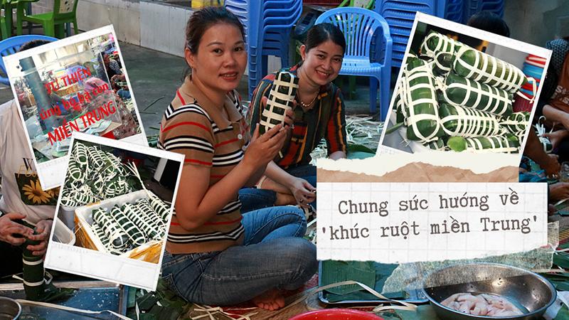 Người dân gói bánh tét cứu trợ miền Trung: 'Không biết gói cũng phải học để cứu trợ đồng bào mình'