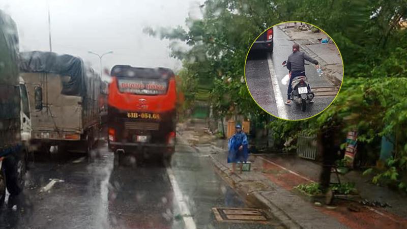 Xúc động hình ảnh người dân Huế tiếp tế lương thực cho tài xế dừng chân tránh bão số 9