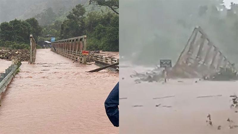 Kinh hoàng mưa lũ nhấn chìm cầu sắt ở Kon Tum, 1.468 người dân bị cô lập
