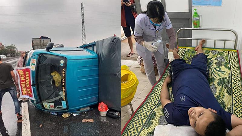Thêm một xe cứu trợ miền Trung bị lật: Người gặp nạn kể lại phút xe thúc vào lan can, tài xế văng ra ngoài