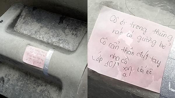 Sợ cô lao công bị thương, học sinh để lại lời nhắn ấm lòng trên thùng rác: 'Có gương bể, cô cẩn thận đứt tay nha cô'