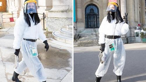 Dự show Chanel mùa dịch, Fashionista Ukraine khiến dân tình hốt hoảng khi diện đồ bảo hộ kín mít