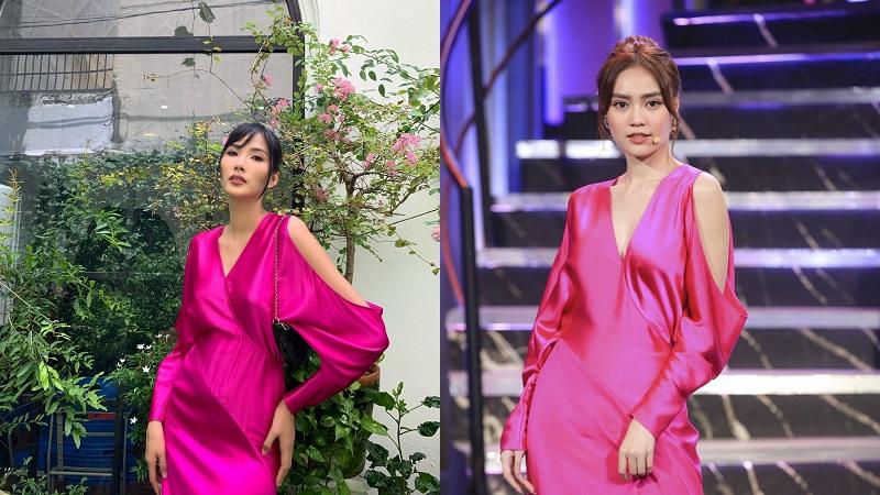 Đụng thiết kế hồng tím hot trend, Lương Thùy Linh, Hoàng Thùy 'lấn át' hẳn Lan Ngọc, Mâu Thủy nhờ tạo dáng tôn đường cong