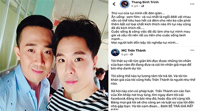 Trịnh Thăng Bình chia sẻ lại bài viết của Trấn Thành: 'Mọi người bớt đồn bậy tội nghiệp tụi mình'