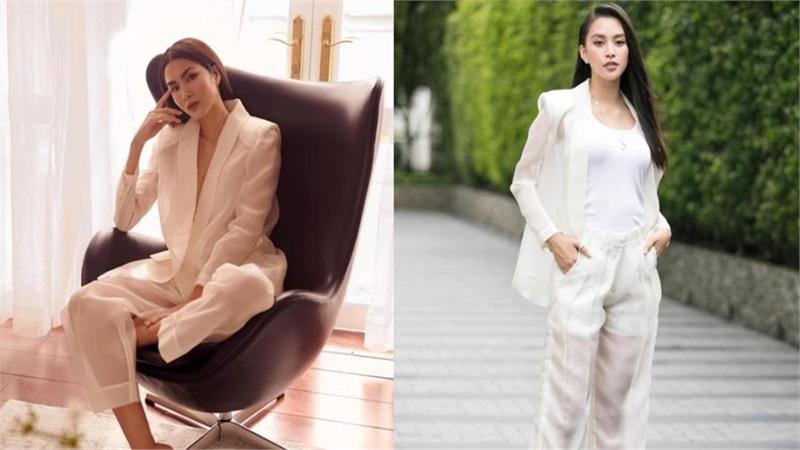 Hà Tăng - Hoa hậu Tiểu Vy đẹp bất phân thắng bại với bộ suit xuyên thấu 'nửa kín nửa hở'