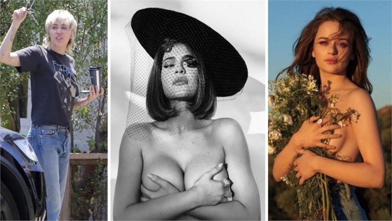 Điểm style sao US, UK tuần qua: Loạt người đẹp liên tục 'cởi áo khoe ngực', Miley Cyrus gây khó hiểu với tóc mới