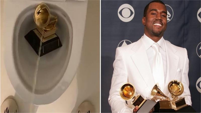 Sốc nặng khi Kanye West đăng clip tiểu tiện vào cúp Grammy danh giá