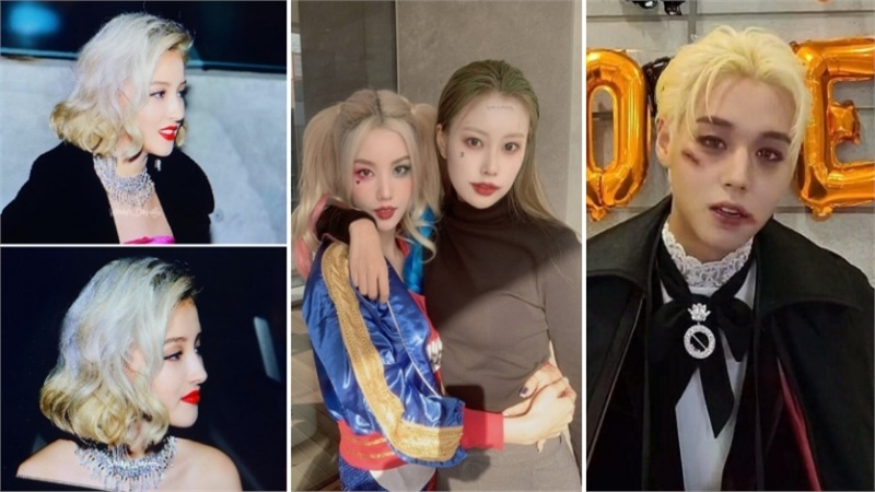 Sao Hàn chơi Halloween: Nancy làm Marilyn Monroe siêu nóng bỏng, cặp đôi Iz*One hóa thành Joker - Harley Quinn