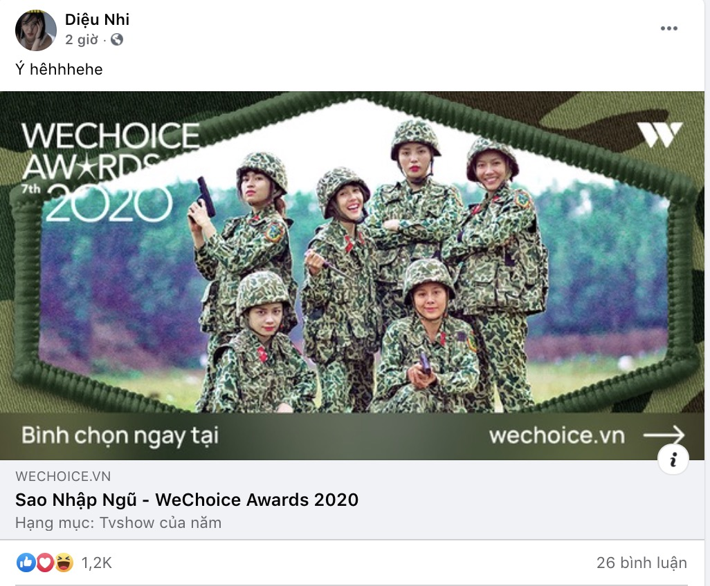 'Sao Nhập Ngũ 2020' được đề cử 'TV Show của năm', dàn cast và mũi trưởng Long hào hứng kêu gọi vote 5