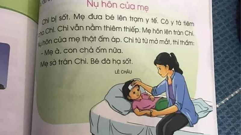 Mẩu truyện 'Nụ hôn của mẹ'trong sách giáo khoa Tiếng Việt lớp 1 lại dậy sóng