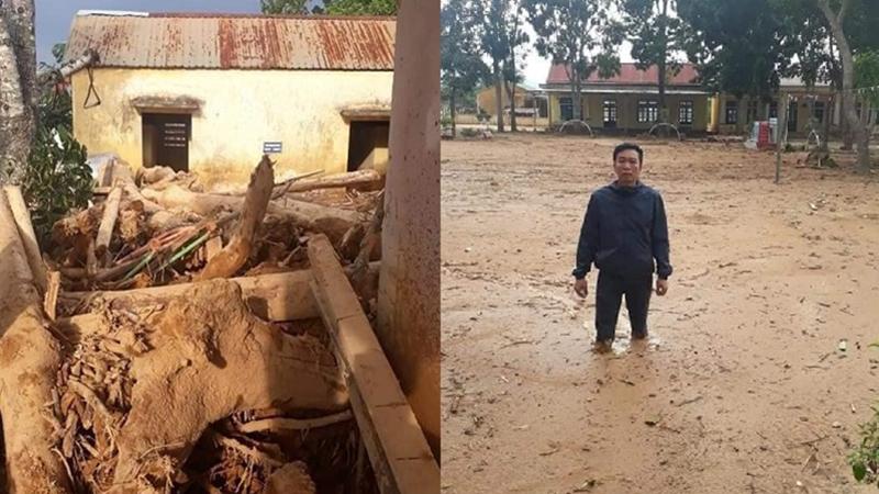 Quảng Trị: Trường học ngập sâu trong bùn đất dày 1m, học sinh đã không thể đến trường gần 3 tuần