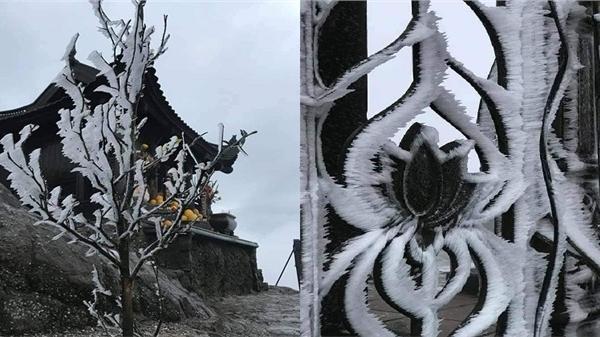 Nhiệt độ dưới 0 độ C, chùa Đồng trên đỉnh non thiêng Yên Tử phủ đầy băng tuyết trắng xóa