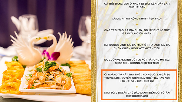 Cười nghiêng ngả menu tiệc cưới bắt trend hài hước: Bỏ 2 món cuối vì nuốt không trôi