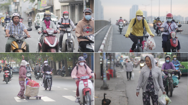 Sài Gòn lạnh dưới 20 độ, người dân mặc kín mít ra đường buổi sáng sớm
