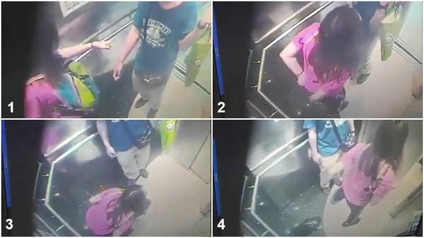Cô gái vô tư tiểu tiện ở thang máy ngay trước mặt bạn trai.