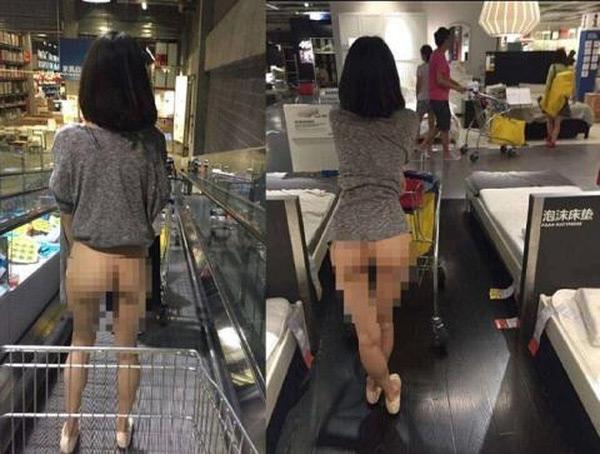Cô gái hồn nhiên thả vòng 3 đi lại trong siêu thị.