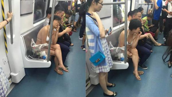 Cô nàng thản nhiên mặc đồ lót ngồi ung dung trên tàu điện ngầm.