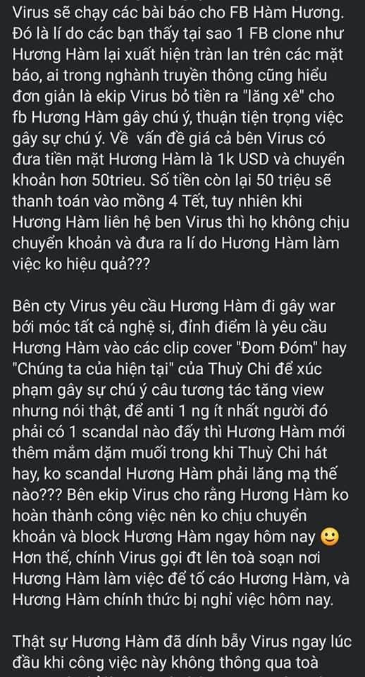 Nội dung bài đăng Hàm Hương bóc phốt ViruSs