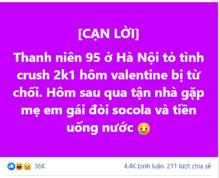 Thanh niên Hà thành mồng 4 Tết đến tận nhà crush đòi quà vì bị từ chối khiến phái nữ 'phát hoảng' 1