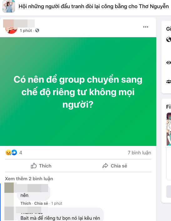 Xuất hiện group đòi lại công bằng cho Thơ Nguyễn, kêu gọi 1 tỷ để đánh sập VTV 2