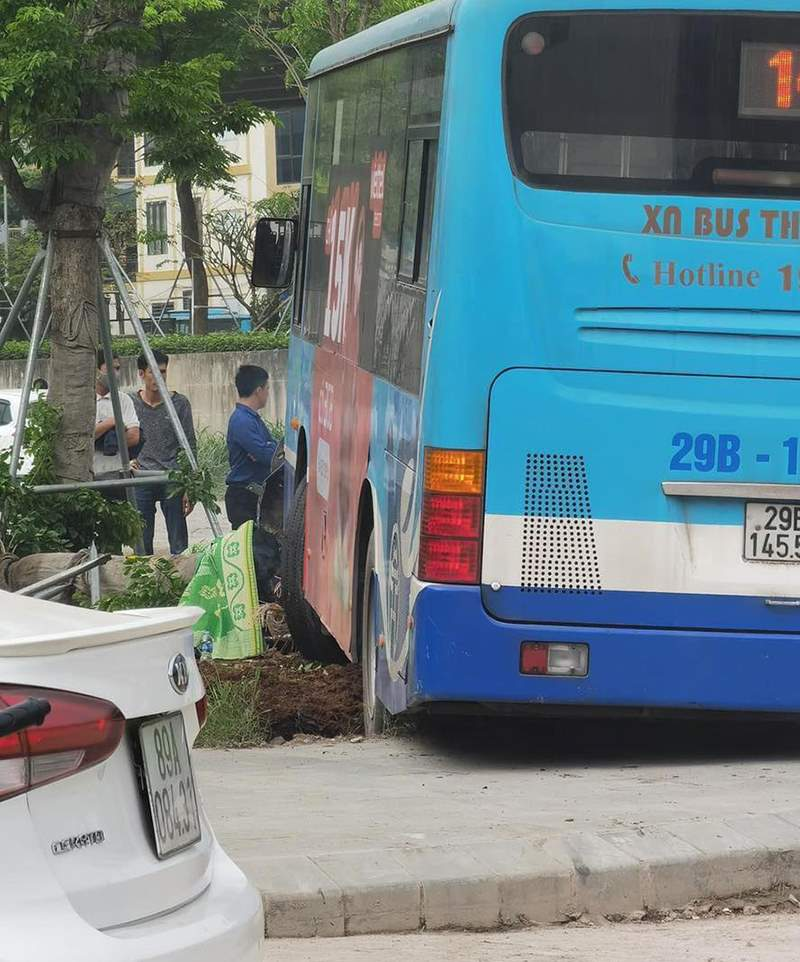Kinh hoàng khoảnh khắc xe buýt Hà Nội lao lên vỉa hè, húc đổ cây, tông tử vong người đi bộ 2