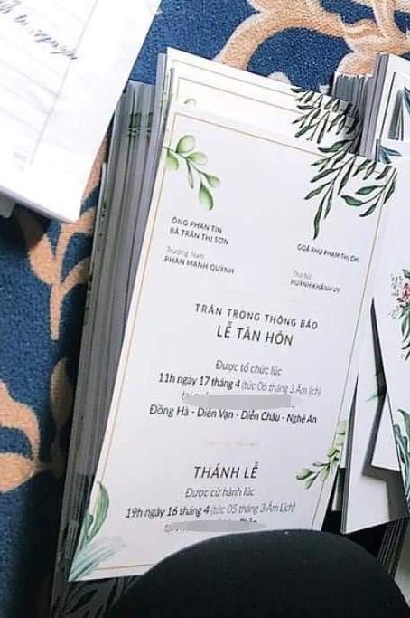Thiệp được cho là của đám cưới Phan Mạnh Quỳnh - Khánh Vy