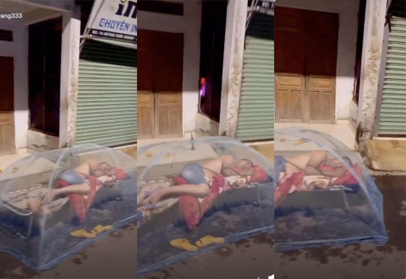 Xôn xao hình ảnh ông chồng ôm chăn chiếu ra đường ngủ vì... cãi thắng vợ 0