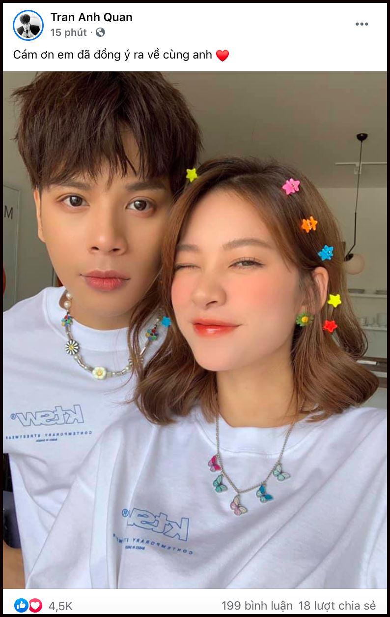 Hai bức ảnh 'tình bể bình' được Trương Hoàng Mai Anh và Jaykii đăng tải để công khai chuyện tình yêu