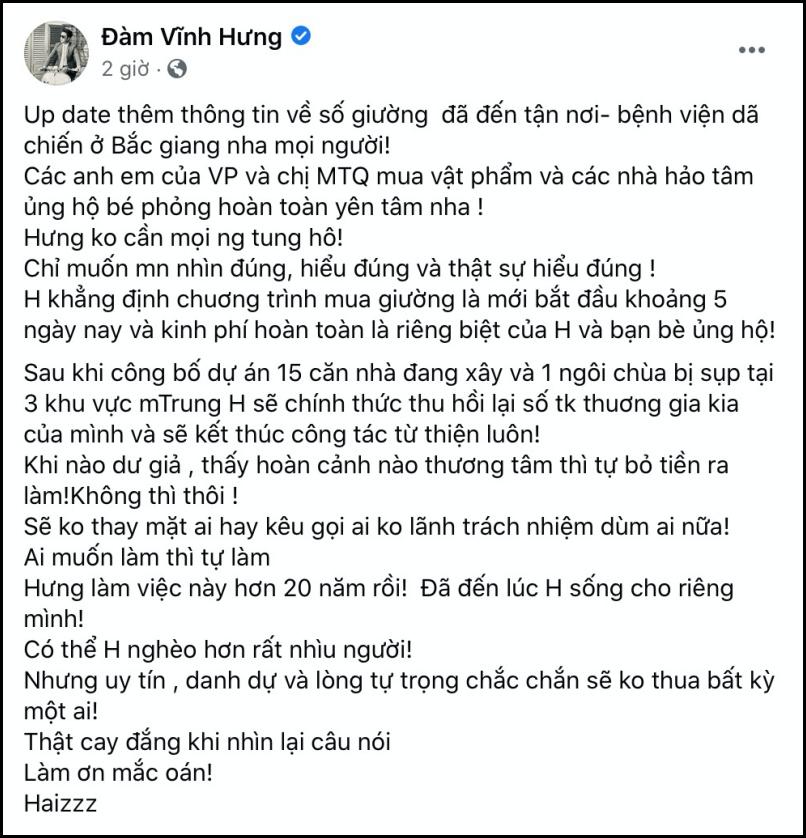 Bài đăng của Đàm Vĩnh Hưng.