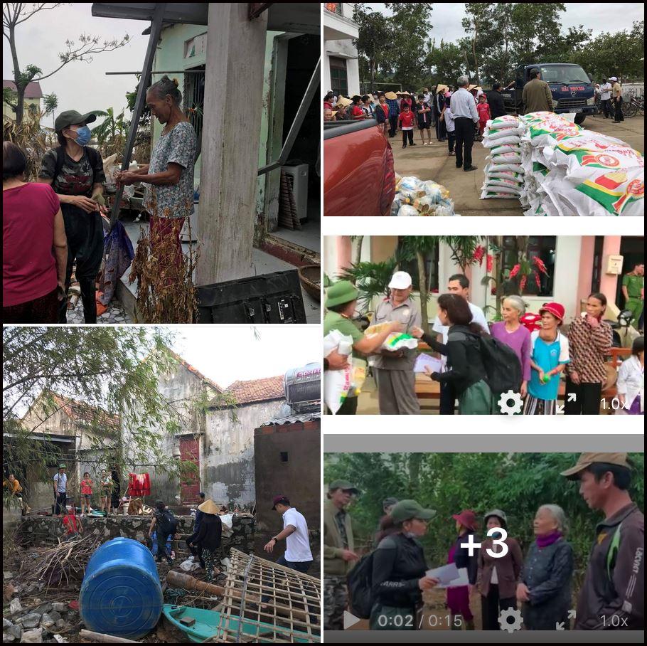 Bà Ngọc Hương trong chuyến đi cứu trợ miền Trung bão lũ tháng 10 năm ngoái được bà đăng tải trên trang cá nhân