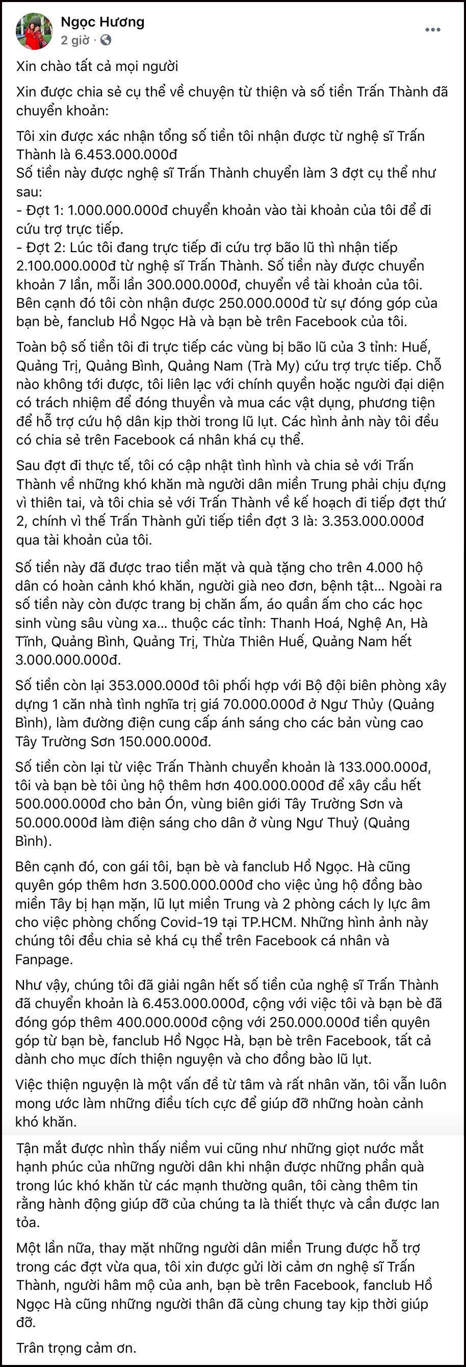 Nguyên văn chia sẻ của bà Ngọc Hương