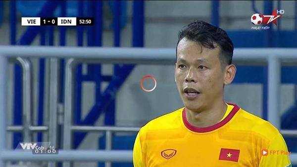 Hình ảnh Tấn Trường xuất hiện hiếm hoi ở trận đấu với Indonesia.