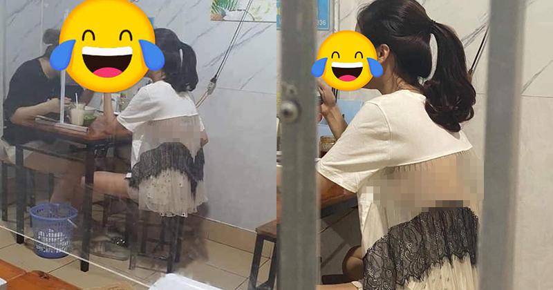 Cô gái gây nhức mắt khi chọn trang phục phản cảm vào quán ăn