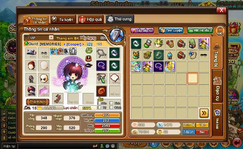 Nhật vật được trang bị tùy ý người chơi với sự đa dạng về vật phẩm